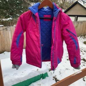 LL Bean girls pink and blue coat size s8